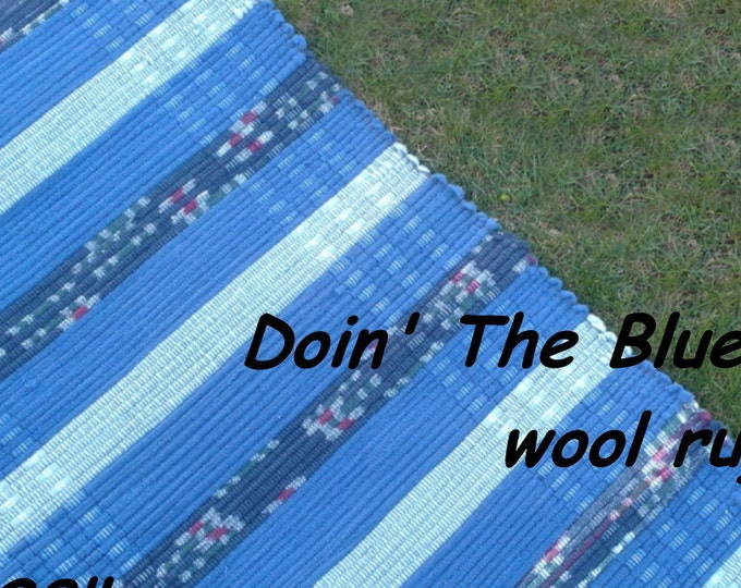 """Handwoven --- Doin"""" The Blues --- THICK Wool Fabric Rag Rug -- 58 x 28"""