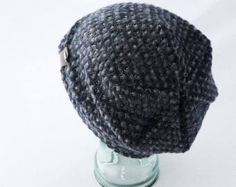 Slouchy Hat, Toque, Midnight Blue, Gray, Sparkle Silver, Chunky, Beanie, Women's Hat, Boho Hat, Gift 4 Her, Slouch Hat, Cozy Hat, Winter Hat