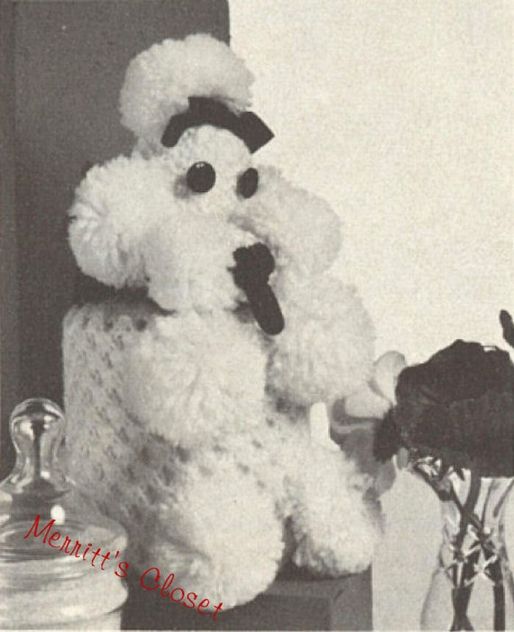 Poodle Toilet Roll Cover Vintage Knitting Pattern INSTANT