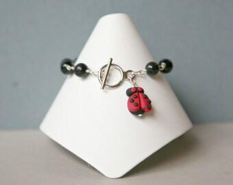 Lucky Ladybug Black Onyx Bracelet, Ladybug Jewelry, Ladybug Bracelet, Black and Red Bracelet