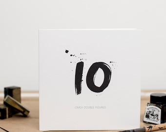 10th Birthday Card - Monochrome -  OMG!! Double Figures - 10 years old