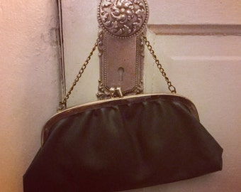 Elegant Forest Green Evening Clutch Purse With Gold Hardware
