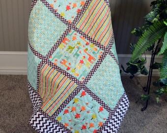 Giraffe Baby Quilt, Nursery bedding, Crib Quilt, Brown Chevron Quilt, Brown Dot Quilt, Baby Blanket, Handmade Quilt, Stroller Blanket, Quilt