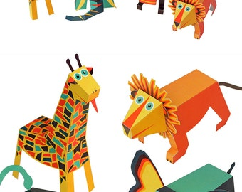 Jungle Animals Paper Toys - DIY Paper Craft Kit - 3D Paper Animals - 4 Animals - Papercraft Kids