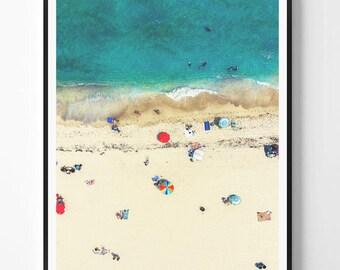 Beach Print, Beach Art Print, Digital Download, Beach Life, Modern Beach Poster, Sea Print, Coastal, Teal Decor,Beach Photography,Busy Beach