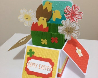 Handmade Easter card in a box, Cute easter chick card, kids easter card