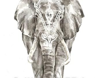 Watercolor Elephant, Watercolor Elephant with henna print