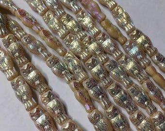 Owl Beads Beige Full AB 15x7mm Czech Pressed Glass Beads 10 Beads