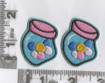 Pair of jars of gumballs iron on patch