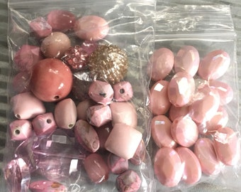 Combo set of Pink Beads, Variety of Beads, Jewelry Making, Bead sets