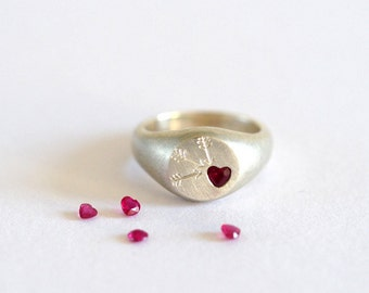 Ruby Ring, Ruby Signet Ring, Ruby Heart, Heart Ring, Love Ring, Promise Ring, Signet Ring, Gift for Her, Silver Ring, Handmade Silver Ring