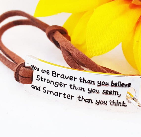 You're Braver Thank You Believe Bracelet Leather Wrist Wrap,Strong Brave Bracelet, Believe in Yourself Inspirational Quote, Word Charms Gift