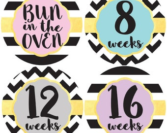 Pregnancy Stickers, Maternity Stickers, Belly Stickers, Belly Bump Sticker, Weekly Pregnancy Stickers, Pregnancy Milestone