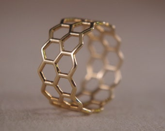 Honeycomb Ring, 18K gold filled