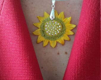 """Sun-shaped necklace with Swarovski elements.""""I find my happiness where the sun shines"""". Material - polymer clay. Size - 10x5cm /all sizes/"""