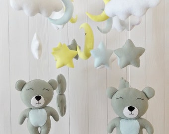 Bear Mobile, Cot Mobile, Baby Mobile, Mobile For Crib, Animals Mobile, Nursery Mobile, Crib Girl Felt Mobile, Baby Mobiles Handing, Boy
