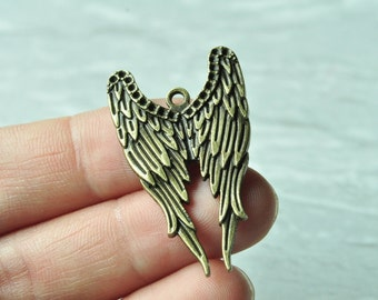 8pcs Antique Bronze Angel Wing Charm Pendant 40x24mm K692