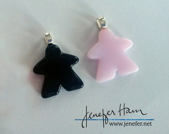 Choose your color: MEEPLE silhouette! super cute meeple glass necklace made by Jenefer Ham