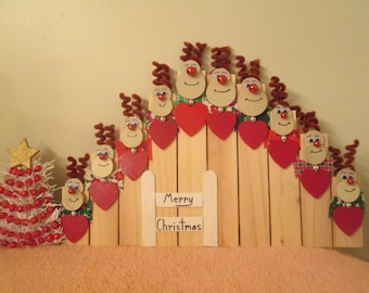 Christmas reindeer family of 10 wall decoration or ornament for you to personalize