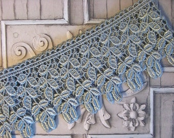 "Gorgeous 3.5"" Wide Rayon Venice Lace Trim in Slate Blue (1 yd)"