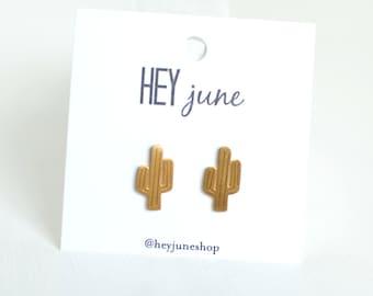 cactus stud earrings, desert earrings, Arizona earrings, cactus studs, gold cactus earrings, gold cactus studs, silver cactus earrings