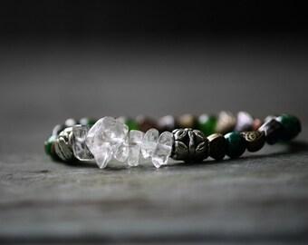 Elegant stacking bracelet, Green Jade/Jasper, Celtic Knot Crystal Bracelet, Irish Bracelet, Boho Tribal Healing Crystal Bracelet