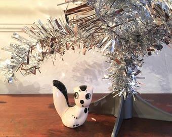 Vintage Rio Hondo California Pottery Mid Century Ceramic Black and White Baby Skunk with Googly Eyes/Big Eyes