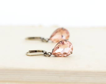 Blush Dangle Earrings - Pink Jewel Earrings - Rhinestone Wedding Earrings - Bridesmaids Earrings - Elegant Jewelry - Blush Crystal Earrings