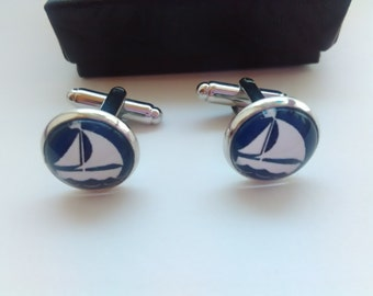 "Mens Cuff Links Yacht Blue Sailboat 14mm (1/2"") Mens Boys Sailor Cufflinks White Navy Nautical Jewelry Groomsmen Dad Husband Mens Gifts"