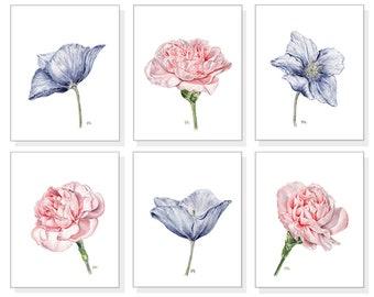 Flower Watercolor Flower Art Prints Floral Watercolor Floral Art Prints Pink Flower Prints Blue Floral Prints Modern Flower Art Set Of 6
