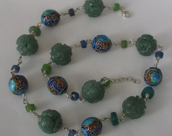 SALE Carved Aventurine and Enamel Beads Asia Beaded Necklace