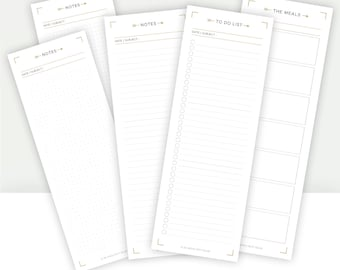PRINTABLE NOTEPAD : To do list, notes & meal planner | Notebook pages, lined, dot grid, graph paper, checklist, weekly meal planner