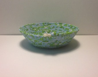 Green and Blue Coiled Rope Bowl,  Fabric Bowl,  Catchall Basket,  Organizer Basket, Quiltsy Handmade