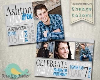 Graduation Announcement PHOTOSHOP TEMPLATE - Senior Graduation 20