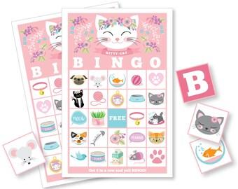 Cat BINGO Game - Cat Party Game, Girl's Printable Bingo Game - Bingo Game for Kids - Kitten Bingo Game - Instant Download