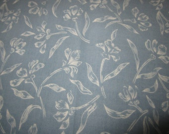 Blue and white floral quilting cotton, 2 and 1/4 yards