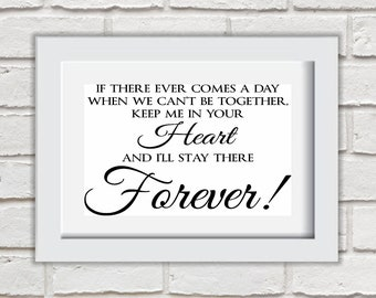 If There Ever Comes A Day Framed Quote Print Mounted Word Art Wall Art Decor Typography Inspirational Quote Home Gift