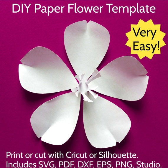 Easy diy paper flower template no glue needed sakura cherry easy diy paper flower template no glue needed sakura cherry blossom flowers svg cut file for cricut silhouette pdf instant download from mightylinksfo