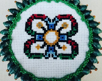 Wall Hanging Ethnic Flower Cross Stitched and Beaded