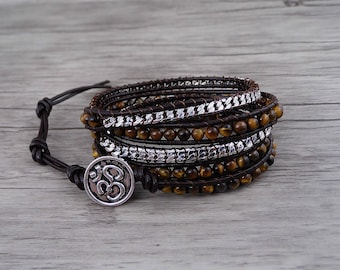 yellow bracelet Tiger eye bracelet Boho waps bracelet gemstone bracelet 5 wraps bracelet chain Bracelet yoga bead leather Bracelet SL-0541