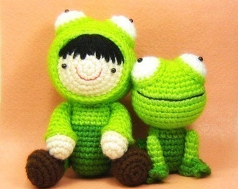 Girl in a Frog Suit and Her Pet Frog - Amigurumi PDF Pattern - Crochet - Instant Download