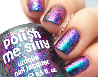NEW-FLAKIE-Harmony Topcoat (larger flakes)Multi-Color Shifting Polish: Custom-Blended Glitter Nail Polish/Indie Lacquer /Polish Me Silly