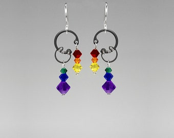 Rainbow Swarovski Crystal Industrial Earrings, Wire Wrapped Jewelry, Colorful Earrings, Statement Jewelry, Bridal, Solar Wind II v4
