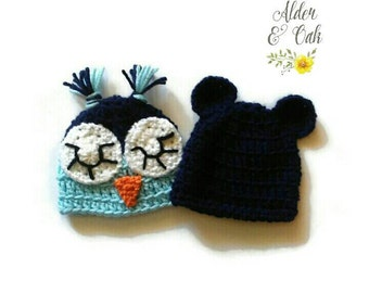 42 COLORS AVAILABLE! Preemie hat set (preemie beanie) (preemie owl hat) (preemie bear hat) (preemie baby gift) (preemie gift set)