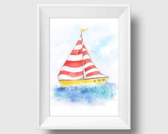 Red Sailboat Nursery Decor Nautical Nursery Art Baby Boy Nursery Kids Wall Art Baby Girl Nautical Baby Boy Nautical Wall Art Print Sailboats