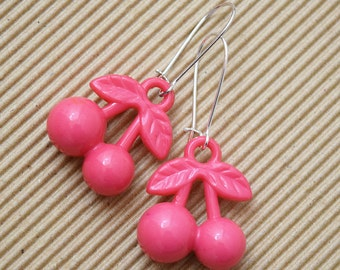 Kitsch Hot Pink Cherry Design Silver Plated Earrings