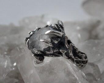 rts // forest woodland silver ring // tjärn // raw quartz