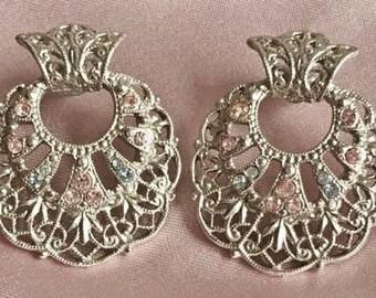 Elegant, Silver Toned Filigree & Pink Crystals, Pierced Earrings