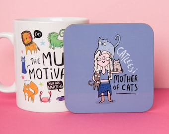 Catleesi - Game of Thrones - Khaleesi - Cute Coaster - Pun  - Cat Coaster - Gift for him - Gift for her - Motivation - Teen Gift - Mat -