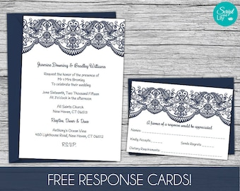Lace wedding invitation template etsy lace wedding invitation template free response card template instant download edit text stopboris Images